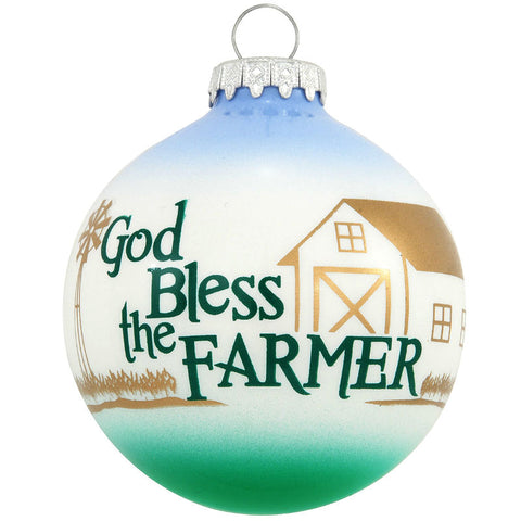 God Bless The Farmer Glass Ornament