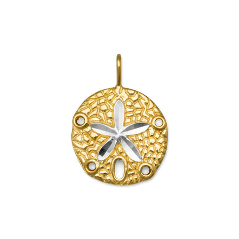 Gold and Silver Sand Dollar Pendant