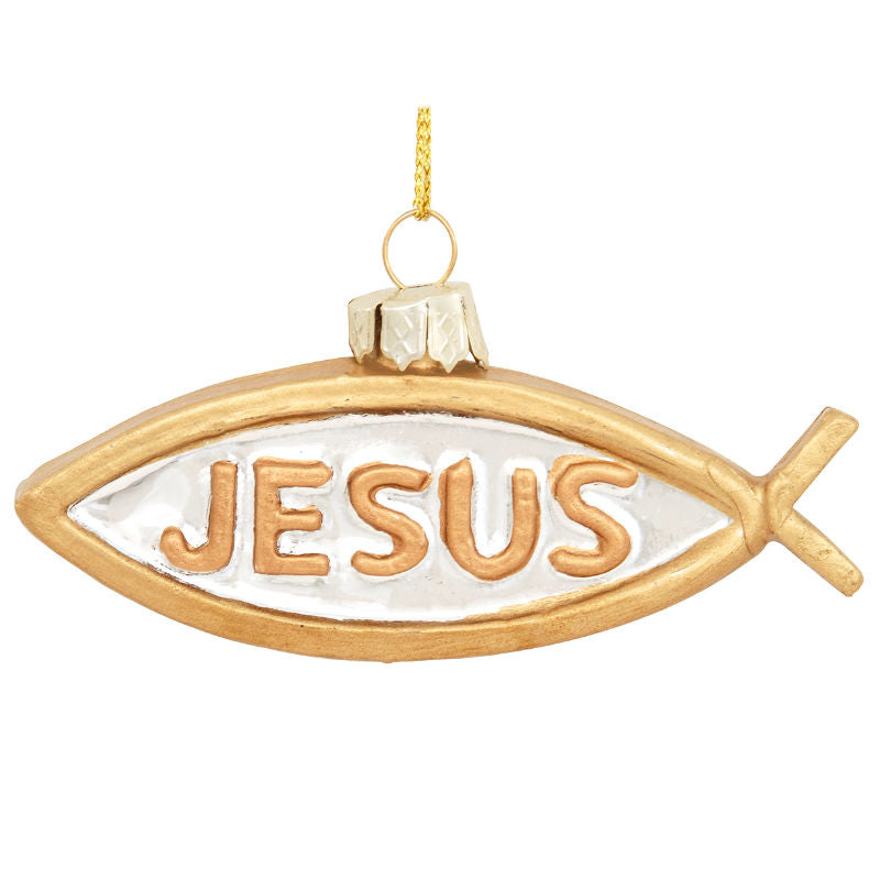 Gold Jesus Ichthys Glass Fish Ornament 1180594