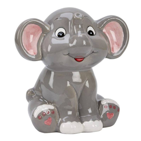 Gray Elephant Ceramic Bank