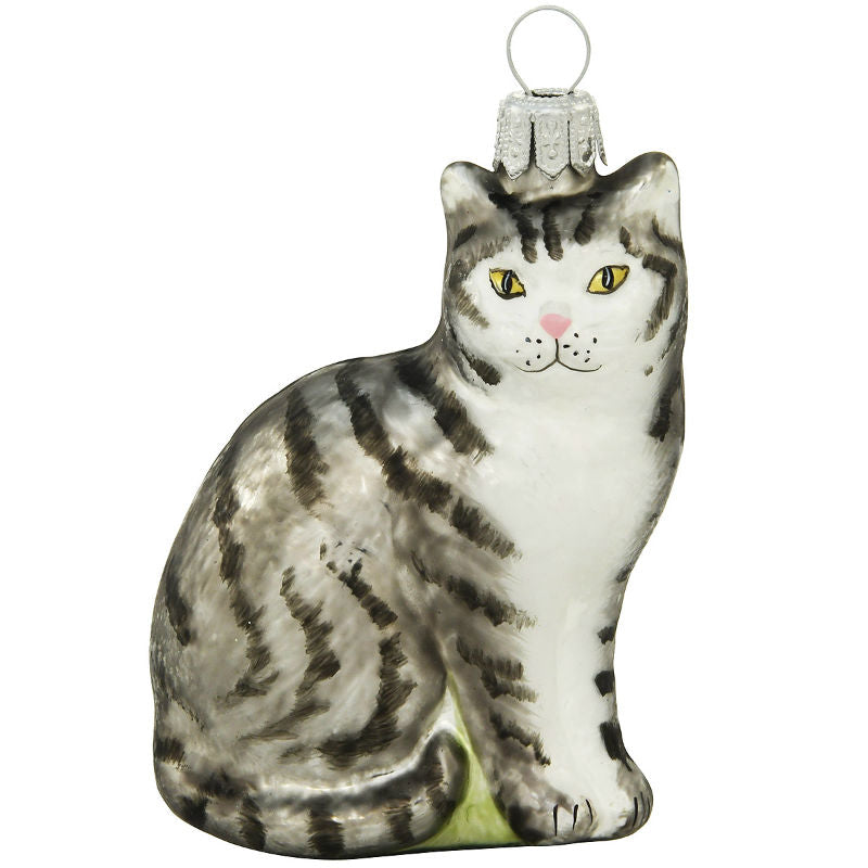 Gray Tabby Cat Glass Ornament 1200462