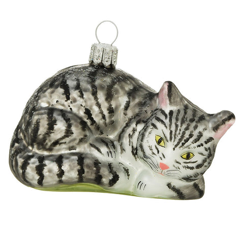Gray Tabby Cat Glass Ornament