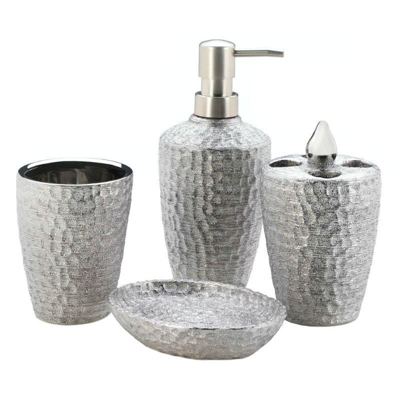 Hammered Silver Bath Accessory Set 10018258