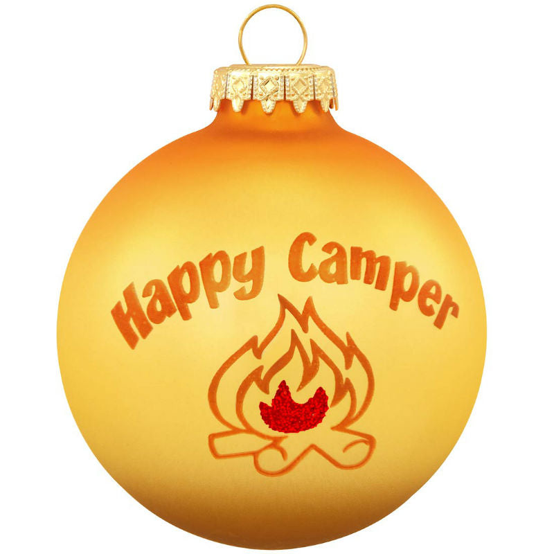 Happy Camper Glass Ornament 1142264