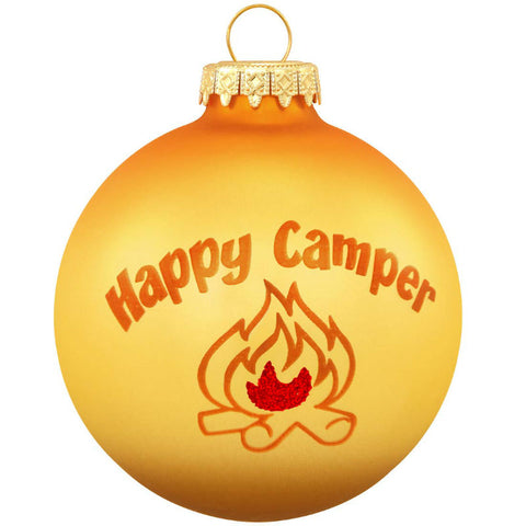 Happy Camper Glass Ornament