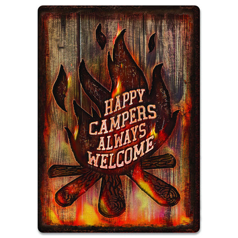 Happy Campers Always Welcome Tin Sign