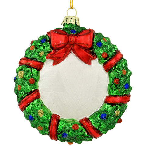 Holiday Wreath Glass Ornament