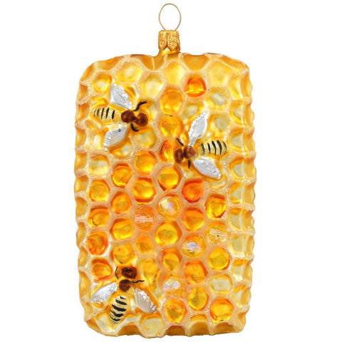 Honeycomb With Bees Glass Ornament
