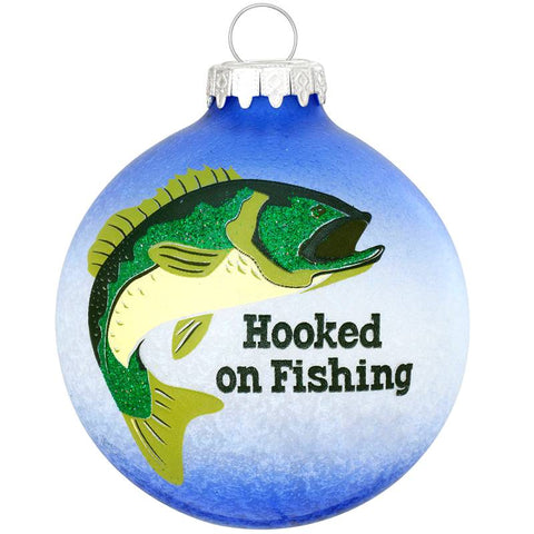 Hooked On Fishing Glass Ornament