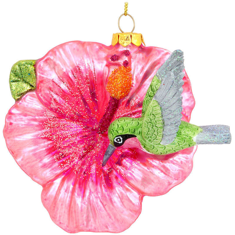 Hummingbird On Trumpet Flower Glass Ornament 1189714
