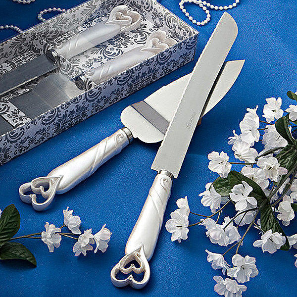 Interlocking Hearts Wedding Day Cake Knife & Server 2401