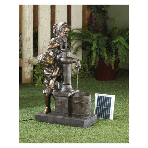 It Takes Teamwork Solar Pump Garden Fountain