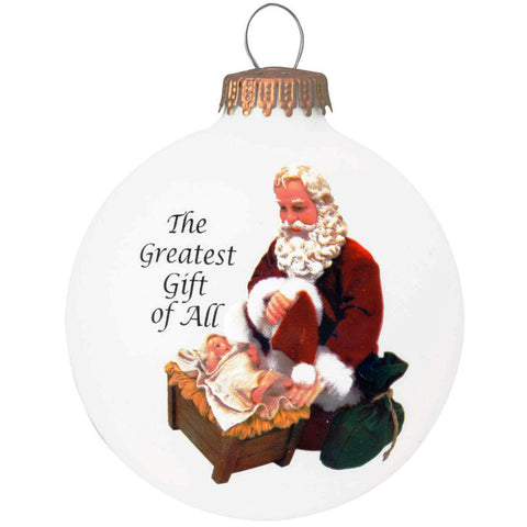 Kneeling Santa Glass Ornament