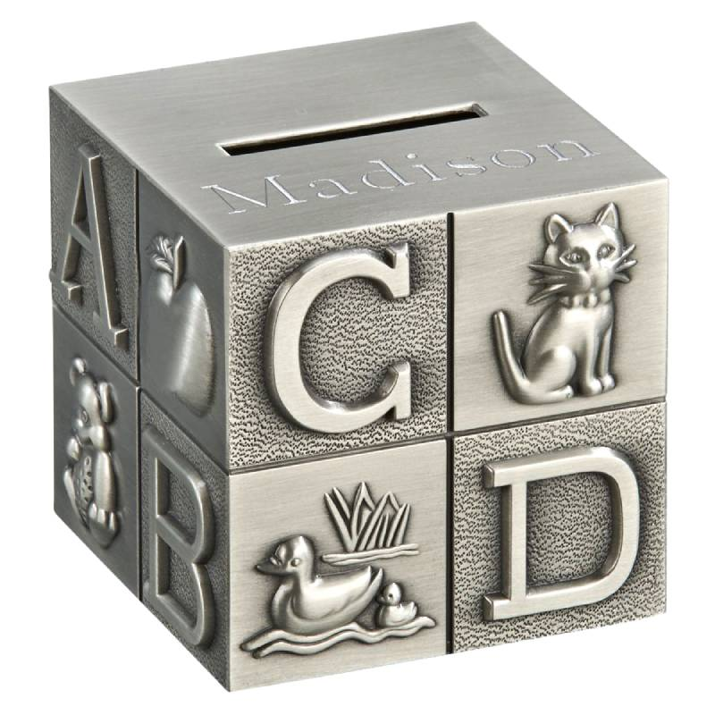 Large Pewter Baby's Building Block Bank 023176