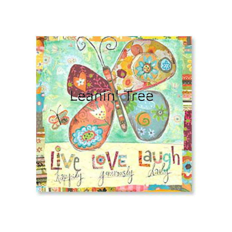 Leanin' Tree Live Laugh Love Blank Butterfly Card 23418