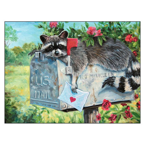 Leanin' Tree Wild Roses Raccoon Birthday Card