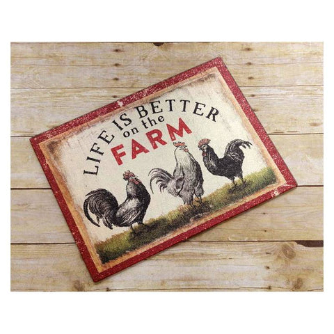 Life Is Better On The Farm Roosters Glass Cutting Board