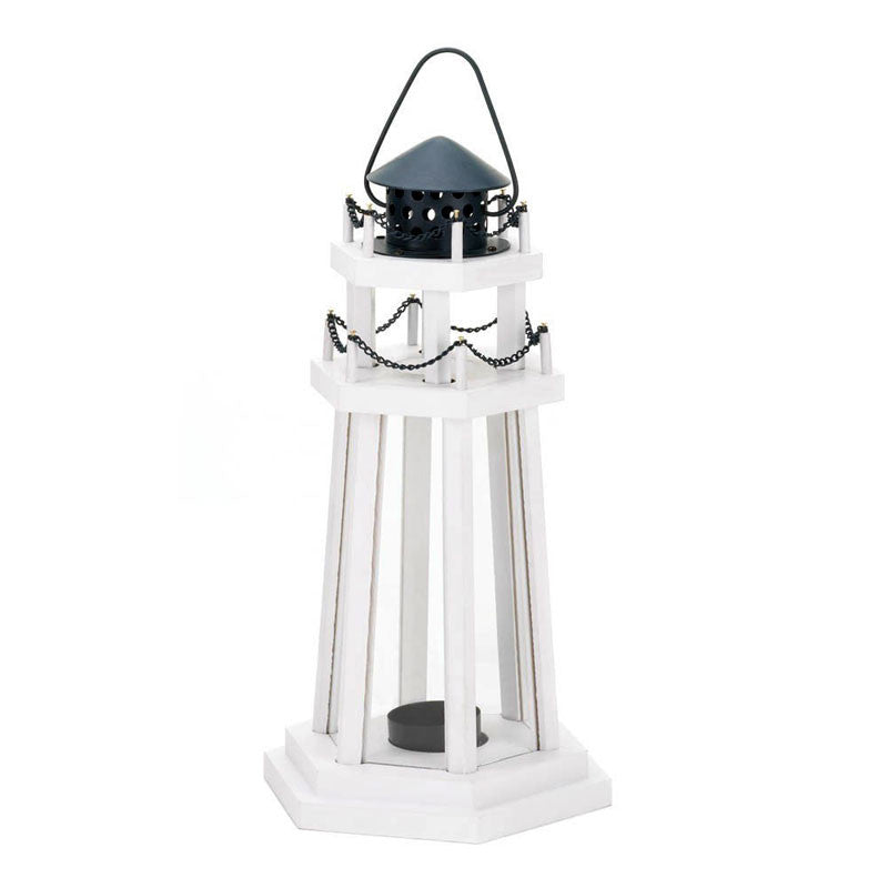 Lighthouse Point Wooden Candle Lantern 10015961