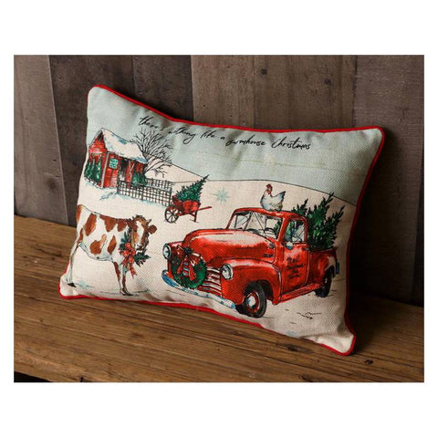 Lit LED Country Farm Christmas Throw Pillow