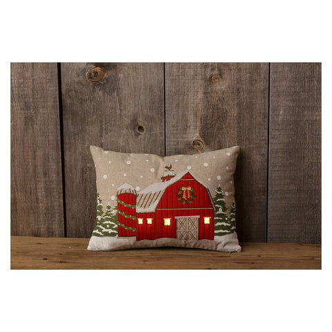 Lit LED Red Barn Christmas Throw Pillow