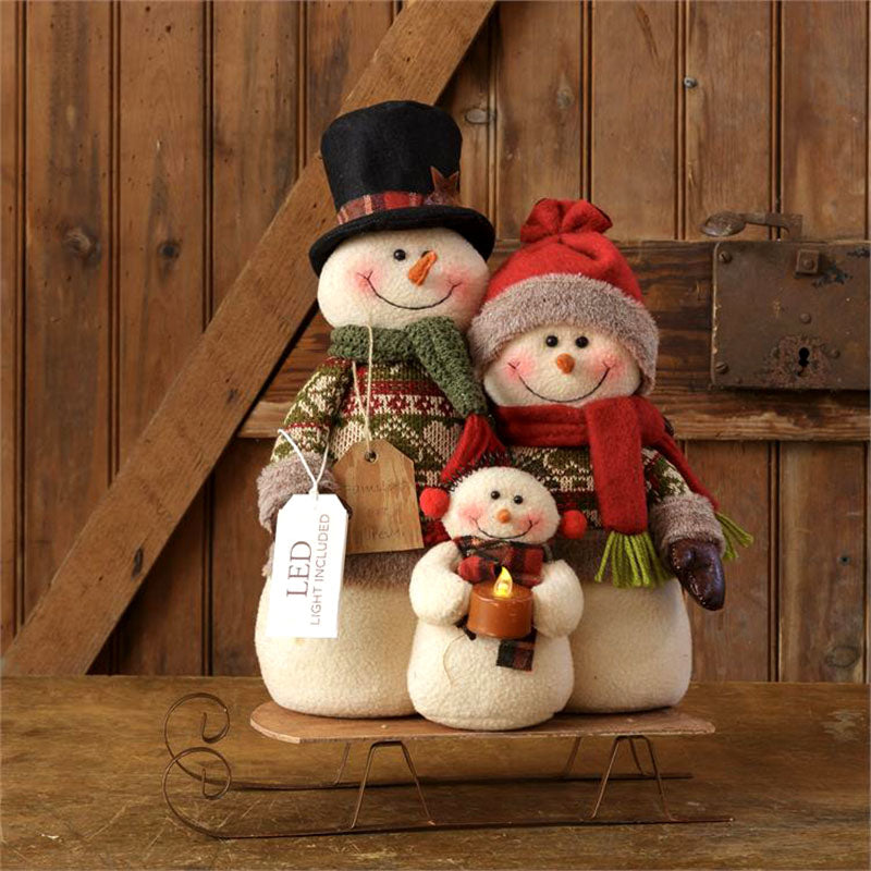 Lit Snowman Family On Sled Plush Figurine 7FA903