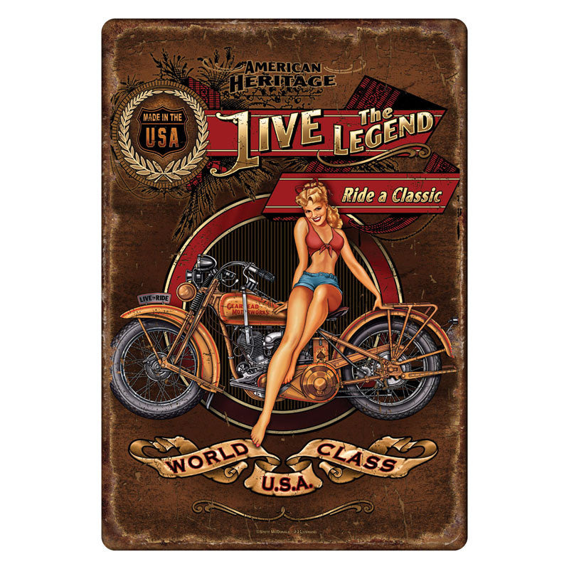Live The Legend Motorcycle Sign 1594
