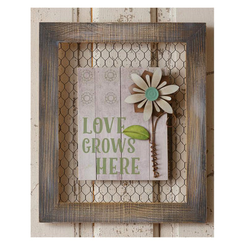 Love Grows Here Rustic Garden Sign