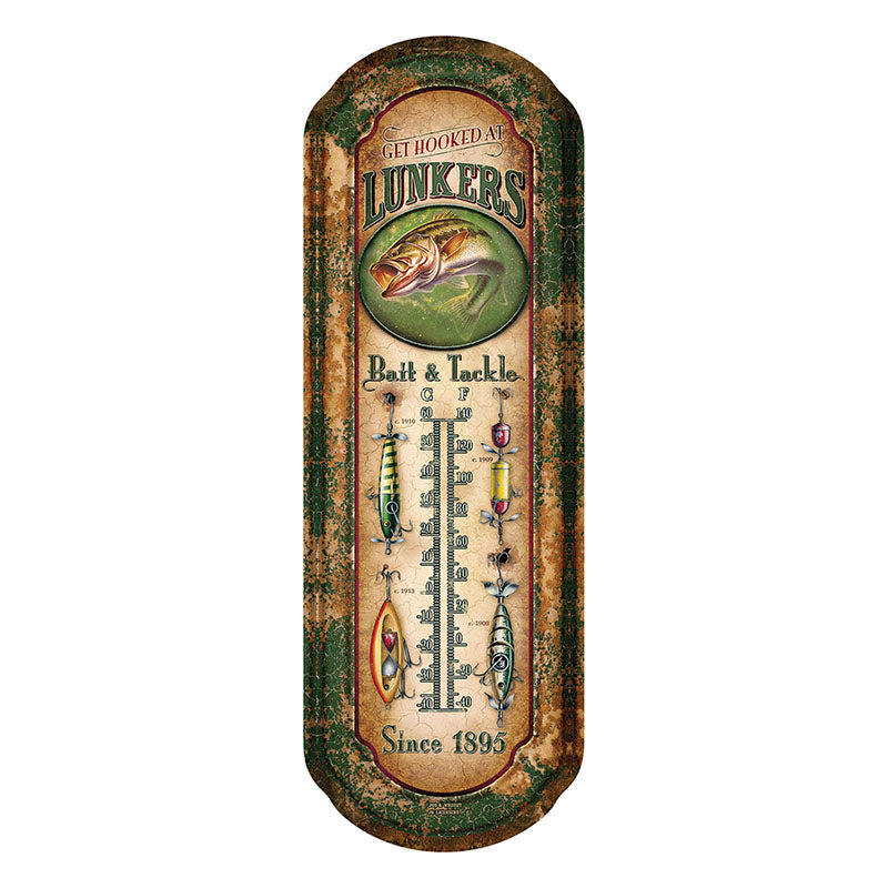 Lunkers Bait & Tackle Tin Thermometer 1291