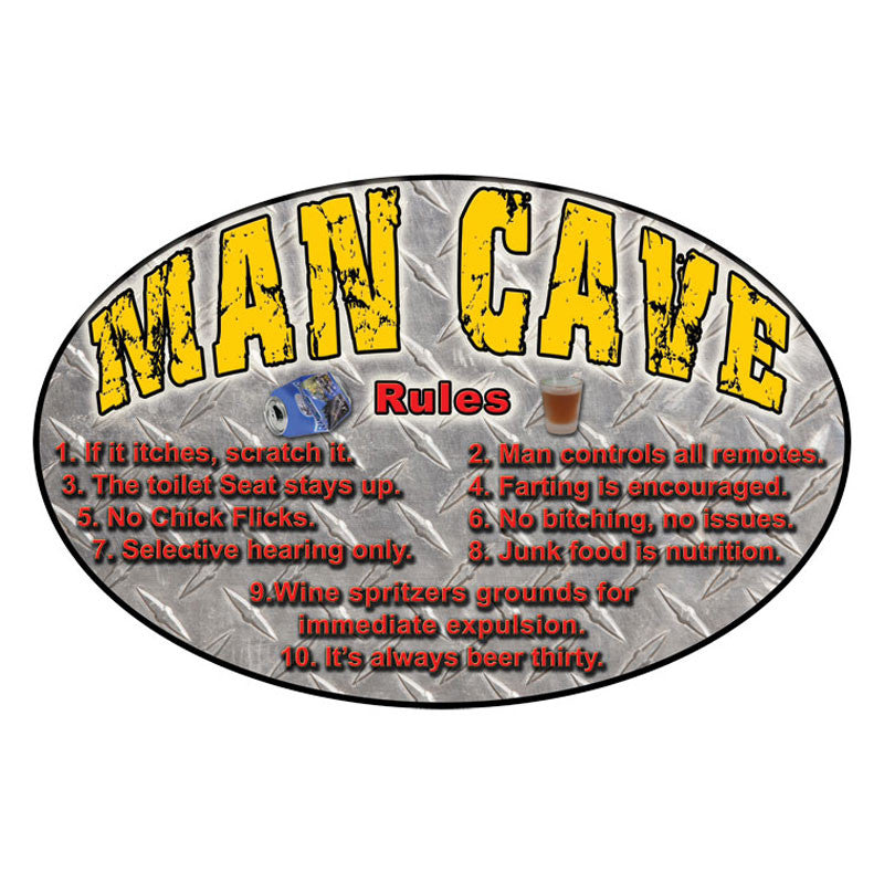 Man Cave Rules Tin Sign 1527