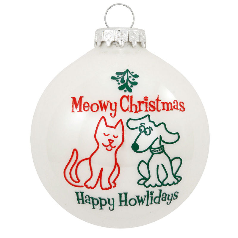Meowy Christmas Happy Howlidays Glass Ornament 1196192
