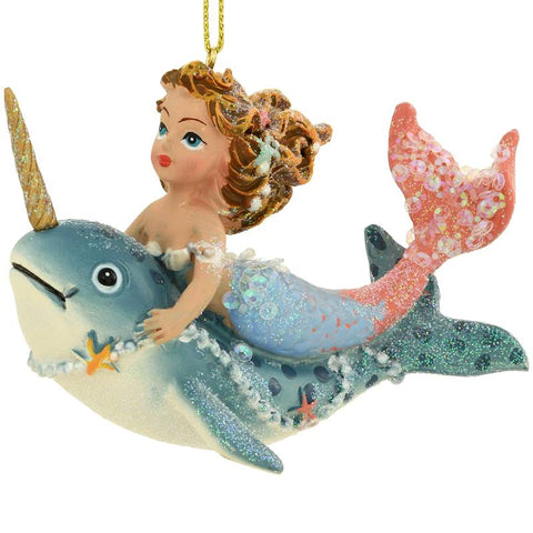Mermaid On Whale Ornament