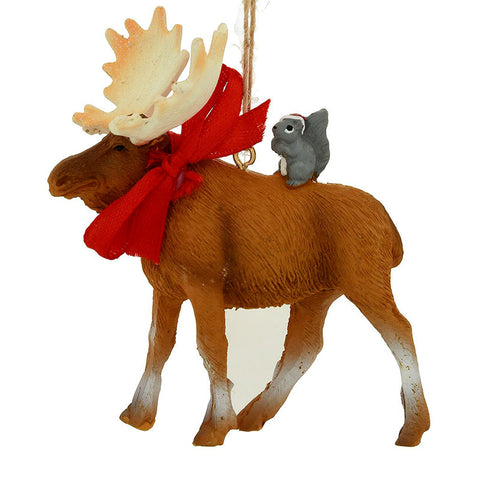Moose and Squirrel Christmas Ornament