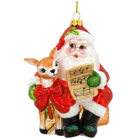 Musical Santa Claus With Deer Glass Ornament