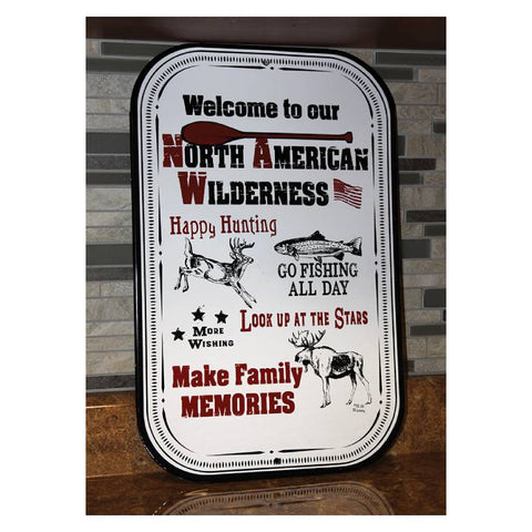 North American Wilderness Porcelain Metal Welcome Sign