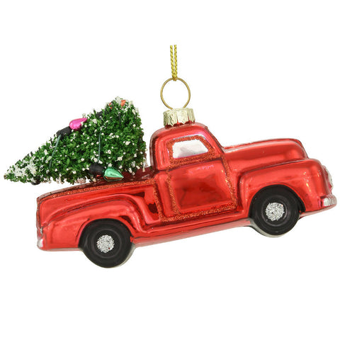 Old Red Pickup Truck Glass Ornament