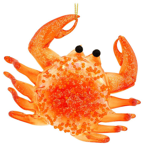 Orange Crab Glass Ornament