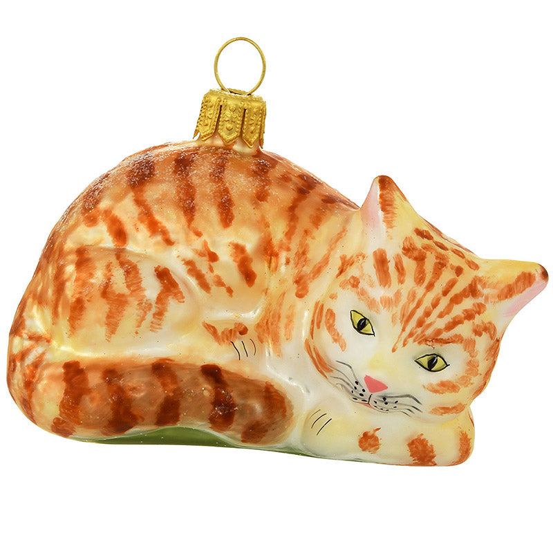 Orange Tabby Cat Glass Ornament 1206267
