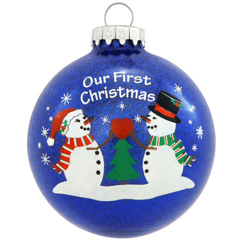 Our First Christmas Snowman Glass Ornament