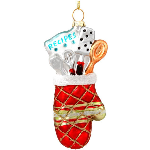 Oven Mitt With Cooking Utensils Glass Ornament