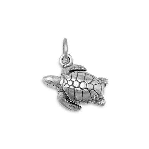 Oxidized Sea Turtle Charm Pendant