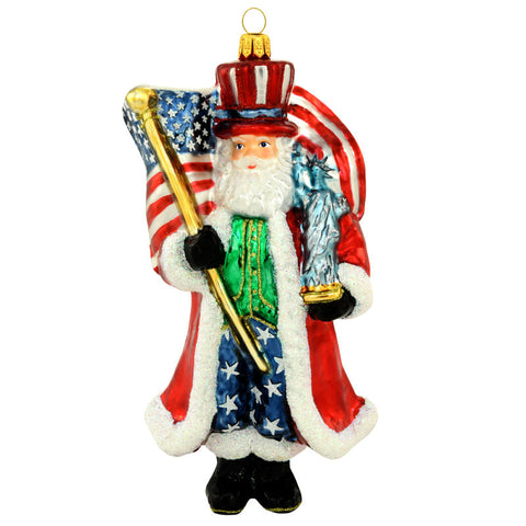 Patriotic Santa Claus Glass Ornament