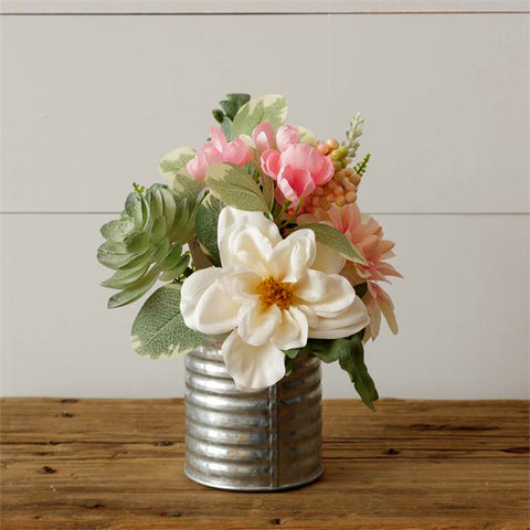 Pink and White Bouquet in Tin Vase
