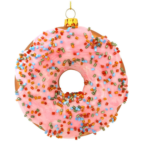 Pink Frosted Doughnut Glass Ornament