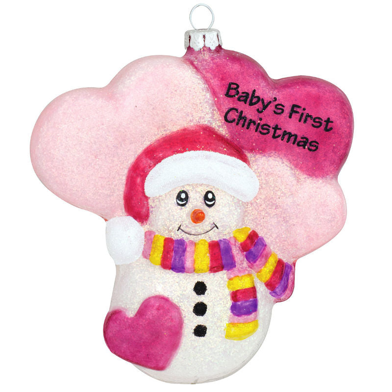 Pink Snowman Babys First Glass Christmas Ornament 1180258