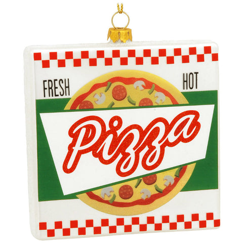 Pizza Box Glass Ornament