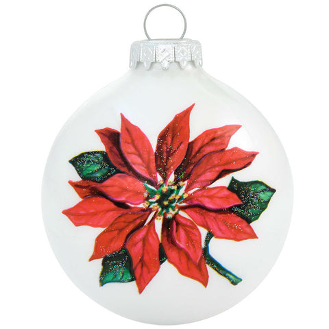 Poinsettia Legend Glass Ornament