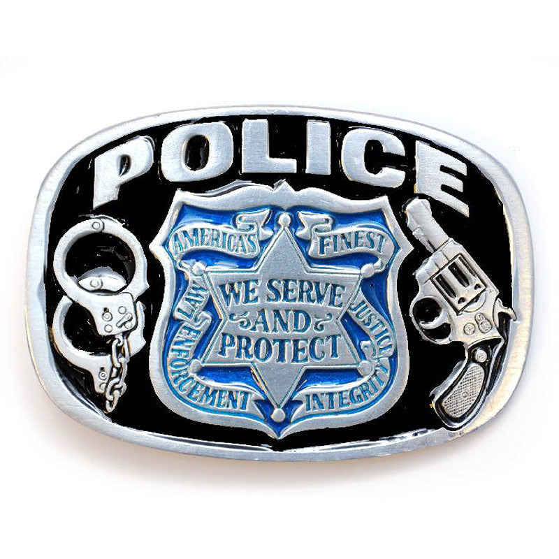 Policeman Enameled  Belt Buckle G-1654