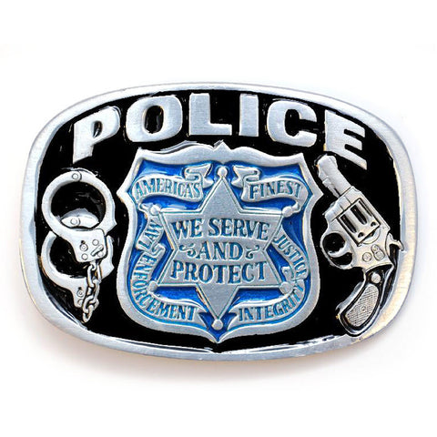 Policeman Enameled  Belt Buckle