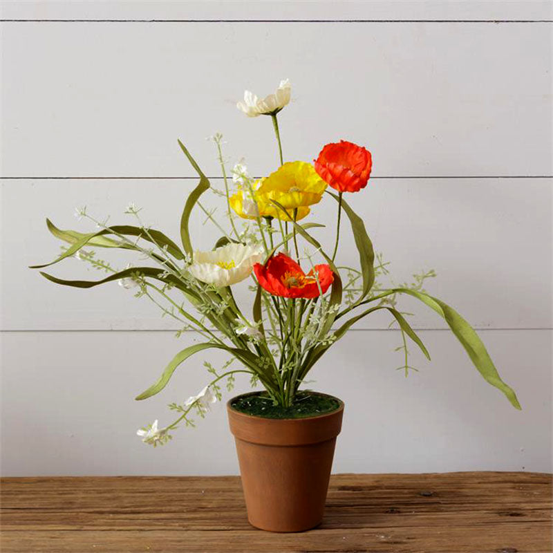 Potted Poppies Faux Greenery 8F6362