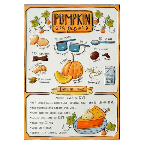 Pumpkin Pie Recipe Enamel Sign